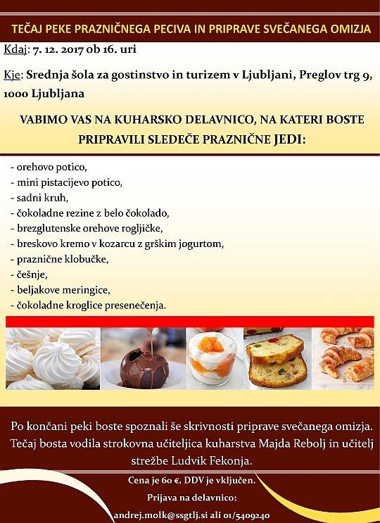 Tečaj peke prazničnega peciva in priprave svečanega omizja (Ljubljana)